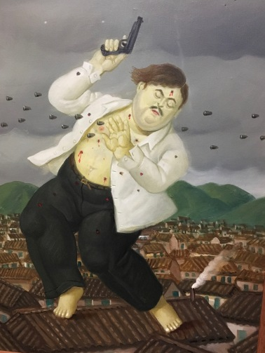 Photo of a painting by native son Fernando Botero entitled The shooting of Pablo Escobar,